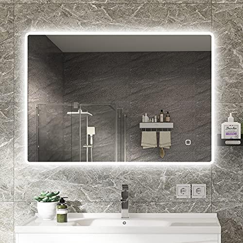 S'bagno 1000 x 700 mm LED beleuchteter Badezimmerspiegel [IP44 bewertet] rechteckiger Spiegel mit Hintergrundbeleuchtung Wandspiegel mit Touch-Sensorschalter / Dimmfunktion / Entfeuchterpad