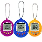 Skylety 3 Pieces Virtual Electronic Digital Pets Keychain Game Keyring Electronic Toys Nostalgic Virtual Digital Pet Retro Handheld Game Machine (3 Pieces, Rose Red, Yellow, Blue)