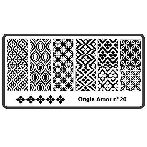Plaque nail art stamping N 20 ONGLE AMOR,pour vernis stamping et tampon stamping