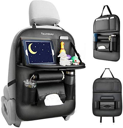 Tsumbay Auto Rückenlehnenschutz Wasserdicht Autositz Organizer mit vielen Sack, Tablet/Telefon Aufbewahrung, Auto Rücksitz Organizer für Kinder , Multifunktionale Auto Aufbewahrungstasche