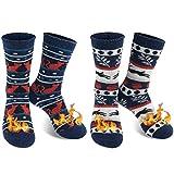 QINCAO Calcetines Térmicos Invierno Mujer 2 Pares de Navidad Calcetines Calor Suave Cómodo Largos (Talla Universal)