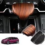 CEBAT ABS Peach Wood Grain Gear Shift Knob Head Cover Trim Interior Moulding Decoration Sticker Accessories Fit For Honda CR-V CRV 2017 2018 2019 2020 2021