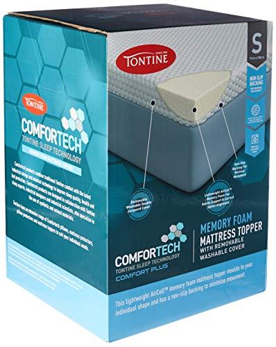 Tontine T6189 Comfortech Memory Foam Mattress Topper, Single, White