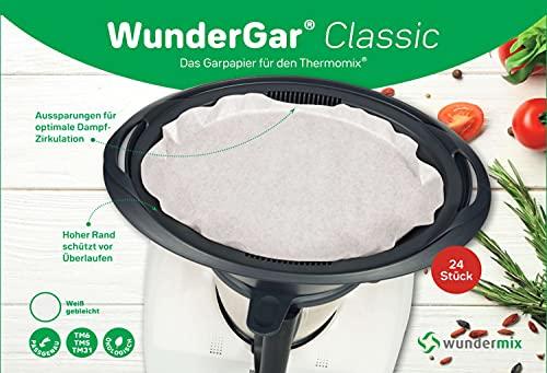 WunderGar® |Classic (weiß) - 24 Stück Backpapier für Thermomix | Varoma-Garpapier für TM6, TM5, TM31 | Dampfgar-Papier extra hoher Rand