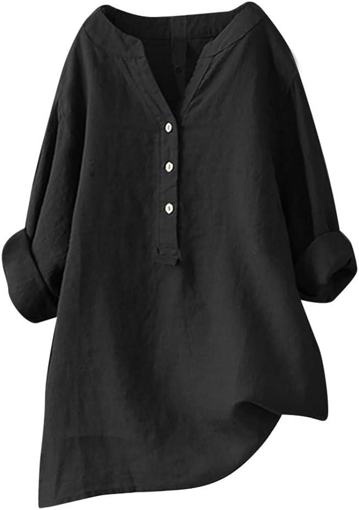 Women's Linen Solid Blouse Long Sleeve Shirt Roll-Up Sleeve Button Down Tops