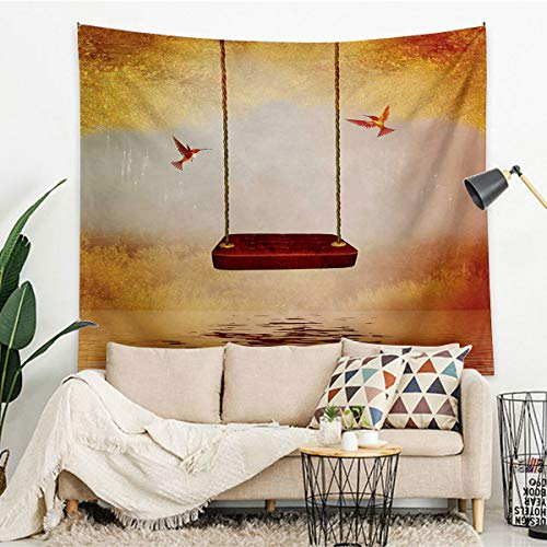 Miles Ralph Hummingbirds Exquisite Tapestry Hanging Wall Red Hammock and Hummingbird in a Peaceful Lake Fantasy Fairytale Scene Tapestry for Living Room Bedroom Dorm 67'x79' Orange Burgundy