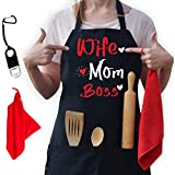 Valentines Day Wife Mom Boss Apron - Kitchen Apron for Women - Funny Aprons for Women with 2 Pockets, Mothers Day, Mom Birthday Gifts for Mom, Daughter, Girlfriend, Friends, Adjustable Kitchen Cooking Apron