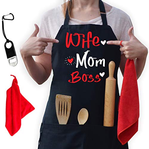 Wife Mom Boss Apron - Kitchen Apron for Women - Funny Aprons for Women with 2 Pockets, Mothers Day, Mom Birthday Gifts for Mom, Daughter, Girlfriend, Friends, Adjustable Kitchen Cooking Apron