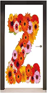 Homesonne Letter Z 3D Door Sticker Flower Themed Alphabet Capital Z Symbol Bouquet Season Inspirations Classic Design for Bedroom Decoration Multicolor,W23xH70