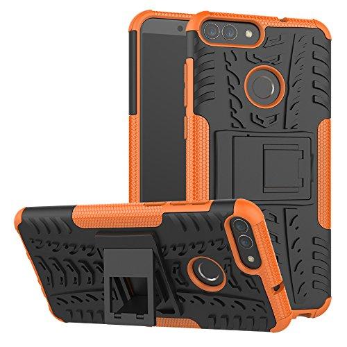 XINYUNEW Funda Huawei P Smart, 360 Grados Protective+Pantalla de Vidrio Templado Caso Carcasa Case Cover Skin móviles telefonía Carcasas Fundas para Huawei P Smart-Naranja