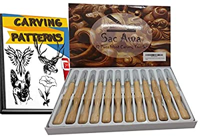 Sac Awa Wood Carving Tools Knife Set. SK7 Carbon Steel Ergonomic 12 Piece Knife Kit. Includes 750+ Carving Patterns