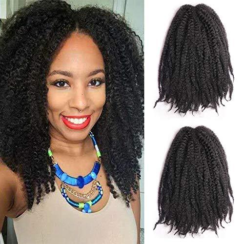 2 Packungen / Lot Flechten Haar Afro Kinky Marley Extensions Twist Crochet Braids Kunsthaar 18 Zoll (1B / Schwarz)