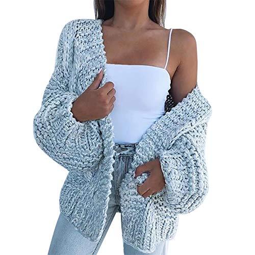 Vertvie Gilet Cardigan Femmes Veste en Tricot Chaud Hiver Pull Tricoté Casual Grosse Maille Pull Outwear Blouson Chandail Sweater Outwear Mode (M, Bleu Ciel)
