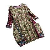NPRADLA 2019 Shirt Damen O Neck Patchwork Zufällige Blumendruck Langarm Vintage Bluse Top(Grün,M)