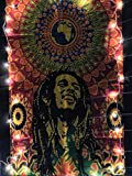 ICC Bob Marley Laughing Poster 30x40 In Hippie Bohemian Tapestry Psychedelic Flag Gift Wall Hanging Dorm Decor Blanket Tapestries Hippy Hippie Rasta Reggie Collage Mat Decoration (Orange)