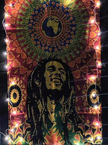 ICC Bob Marley Laughing Poster 76,2 x 101,6 cm Hippie-Stil psychedelische Flagge Geschenk Wandbehang Wohnheim Dekoration Decke Wandteppich Hippie Rasta Reggie Matte Dekoration (orange)