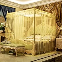 WSJTT Luxury Mosquito Net for Bed Canopy, Large Tent for Double to Queen Size,Finest Holes,Square Netting Curtain,3 Entries,Easy to Install, Hanging Kit,Storage Bag,No Chemicals Added (Size : 1.8m)