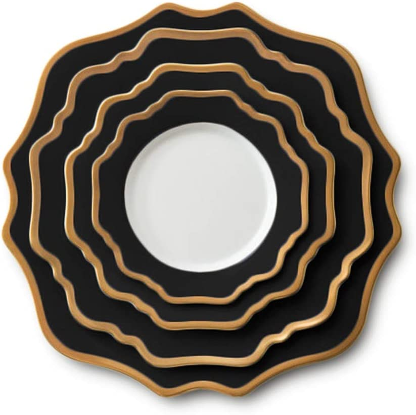 Table Decoration Plate Max 43% OFF Black Gold Sun Flower Set Classic Ho Dinner