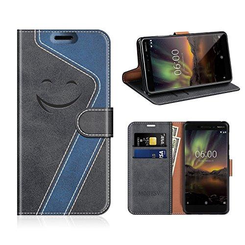 MOBESV Smiley Nokia 6 2018 Hülle Leder, Nokia 6.1 Tasche Lederhülle/Wallet Hülle/Ledertasche Handyhülle/Schutzhülle für Nokia 6.1 / Nokia 6 2018, Schwarz/Dunkel Blau