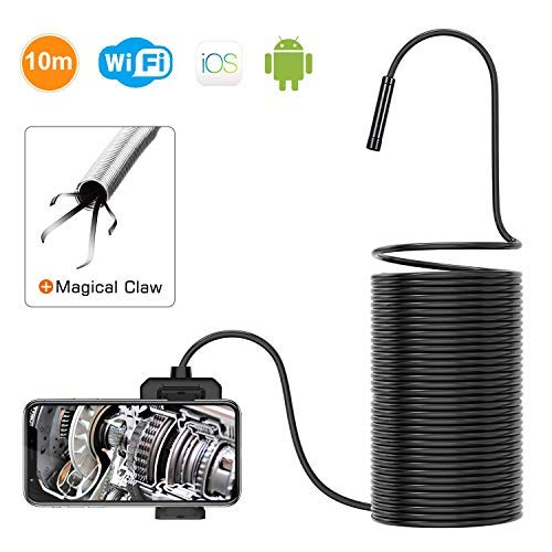 DEPSTECH 1200P Wireless Endoscope, 2.0 MP HD WiFi Borescope Inspection Camera, 16 inch Focal Distance Snake Camera with Phone Holder and Magical Claw for Android & iOS Smartphone Tablet -33FT
