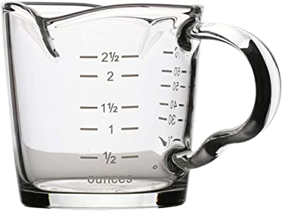 Cabilock Double Spouts Espresso Shot Glass Cup with Scale Temperature Resistant Glass Measuring Cup with Pouring Handle