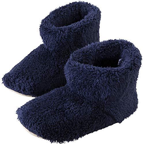 アイリスプラザ ルームブーツ Mサイズ 約 22.5 ~ 24cm ルームシューズ スリッパ もこもこ マイクロミンクファー ふわふわな肌触り 洗える ネイビー