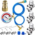3 Pieces BPV31 Bullet Piercing Tap Valve Kits, 1/2 in Male 1/4 in SAE Female Can Tap Valve A/C Retrofit Valve with Dust Cap Convert R12 to R134a Fit 7/16 Inch Low Side Port for GPV14 GPV31 GPV38 GPV56
