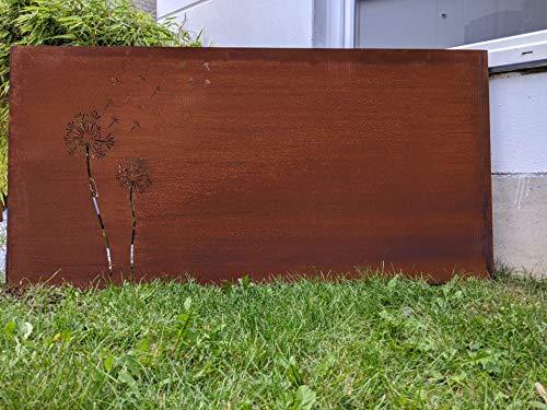Zen Man Edelrost Sichtschutz Garten Sichtschutz aus Metall 1mm Rost Gartenzaun rost Sichtschutzwand 032097 L150 H75cm