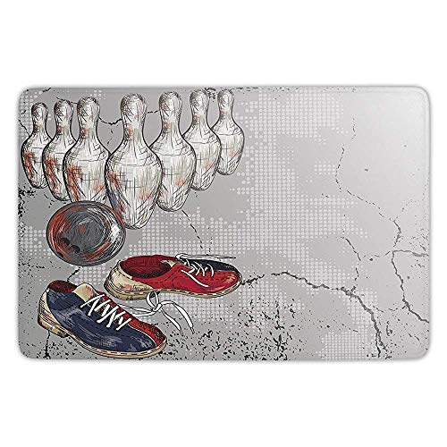 Bathroom Bath Rug Kitchen Floor Mat Carpet,Bowling Party Decorations,Bowling Shoes Pins and Ball Artistic Grunge Style Decorative,Light Grey Red Dark Blue,Flannel Microfiber Non-slip Soft Absorbent