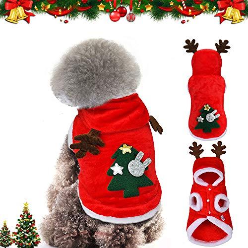 WELLXUNK® Perro Navidad Disfraz, Ropa navideña para Perro, Disfraz de Navidad para Cachorro, Disfraz de Mascota navideña, Ropa para Perros Sudadera con Capucha, Disfraces De Navidad (XS)