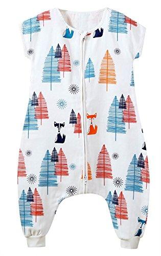 FEOYA Baby Sommer Schlafsack mit Beinen Baumwolle Atmungsaktiv Kinderschlafsack Unwattiert Schlafstrampler mit Reißverschluss