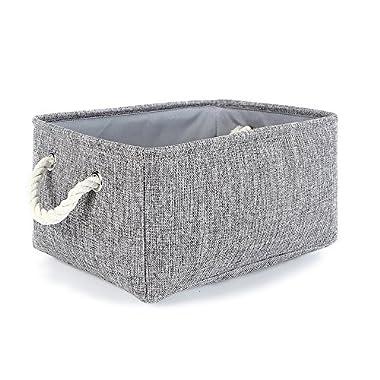 TheWarmHome Grey Linen storage basket for shelves, storage for toys,fabric organizer bins