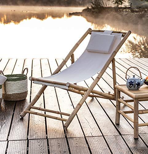 Dekoleidenschaft Liegestuhl aus Bambus & Canvas, Creme, klappbar, Campingliege, Gartenliege, Strandliege