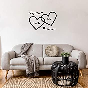Vinyl Wall Art Decal - Custom Couples Names - 22  x 33  - Cute Together Forever Names Heart Shape Design Sticker for Couples & Family Love Bedroom Closet Bathroom Mirror Living Room Decor  Black