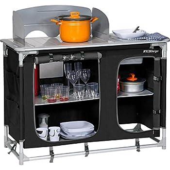 Berger Cuisine de Camping avec évier 116 x83 x52 cm Placard de Cuisine Armoire de Rangement Noir