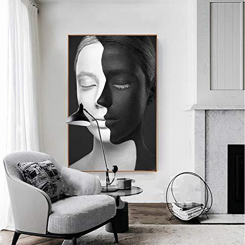 NIMCG Abstrakte Porträtmalerei Schwarz-Weiß-Gesichter Kunst Leinwand Bilder für Wohnzimmer Wandkunst Poster Wohnkultur (kein Rahmen) 60x90CM
