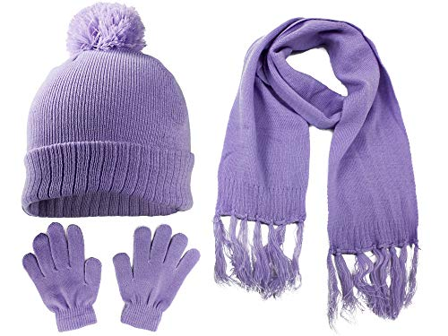 S.W.A.K. Kids Girls Knit Pompom Beanie Hat Scarf and Gloves Set One Size Fits Most Lavender Purple