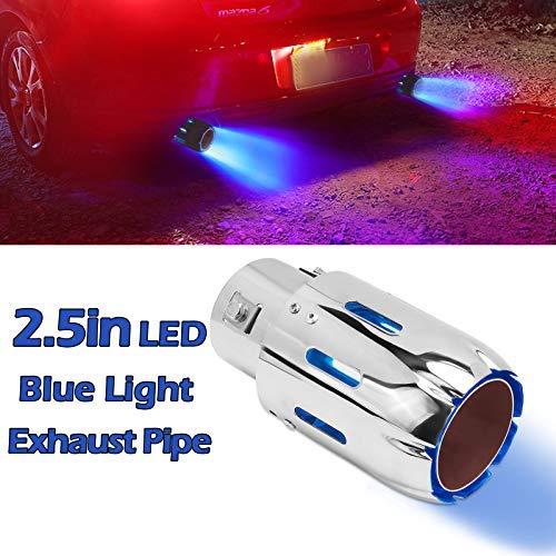 Puntas de Escape de 2.5 '' 63mm Silenciador de Acero Inoxidable Tubo de Escape de Coche Tubo Luminoso de Modificación con luz LED de Llama Azul
