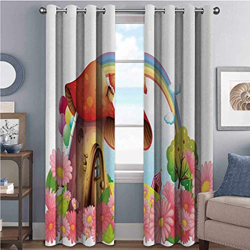 Mushroom 85%-95% Blackout Lining Curtain Little Shroom House in Garden of Flowers Rainbow Fruit Trees Circus Tent Balloons Full Shading Treatment Kitchen Insulation Curtain W100 x L63 Inch Multicolor