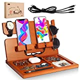 Wood Phone Docking Station - Gift for Men / Dad, Birthday Gifts for Men, Nightstand Organizer and Watch Organizer for Father,Husband Birthday Gift for Husband Mens Gifts