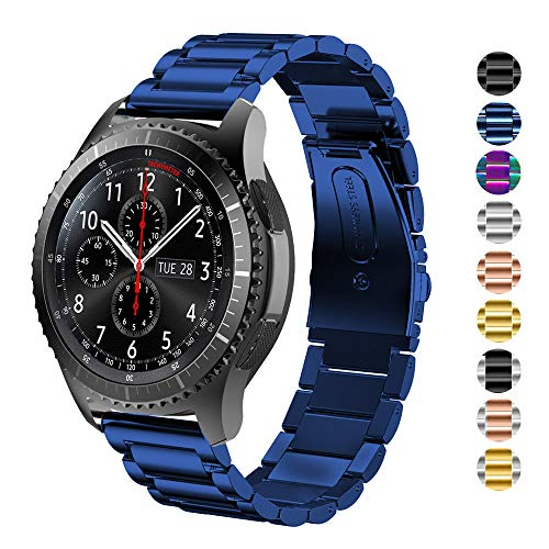 DEALELE Bands Compatible with Galaxy Watch 46mm / Galaxy Watch 3 45mm, 22mm Solid Stainless Steel Metal Strap Replacement for Samsung Gear S3 Frontier / Classic / Huawei GT2 46mm (Blue)