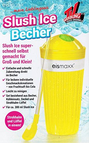Anik-Shop Slush Ice Becher mit Strohalm-Löffel Deckel 300ml Frozen EIS Freeze Eiscrusher 4 Farben 97 (Gelb)