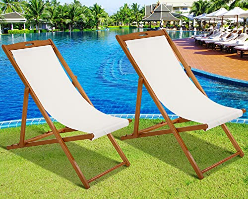 Patio Sling Chairs Set of 2 Outdoor Folding Portable Beach Chairs with Solid Wooden Frame and Polyester Canvas Reclining Adjustable Patio Lounge Chair for Yard Pool Balcony Garden