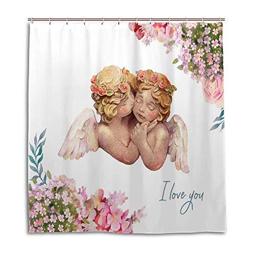 Rashu Shower Curtain Waterproof Watercolor Cute Angels Cherub Bath Curtain Bathroom Decor Polyester Fabric Cloth Shower Curtain Set with 12 C Shaped Hooks 72 x 72 Inch