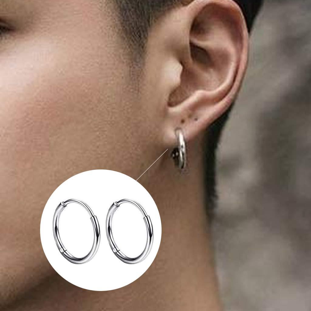 JZZJ 8 Pack Mujer Niña Hombre Aro Pequeño Pendientes in Plata Antialergicos Acero Inoxidable Piercing Negro-Tone Plata-(Plata): Amazon.es: Hogar