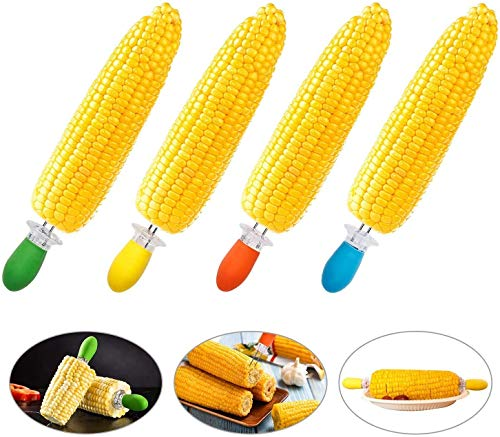wkwk Soportes de maíz,brochetas de mazorcas de maíz de Acero Inoxidable con Mango de Silicona para cocinar en casa,Barbacoa,picnics (8 Pares)