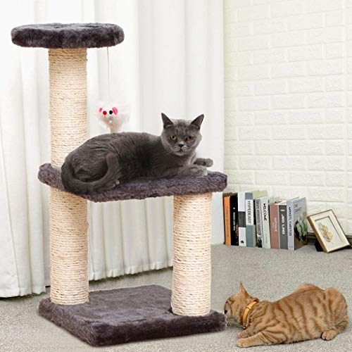 Eazon Tower Kittens Pet Play House Cat Activity Tree Cat Condo Scratching Sisal Post with Jump Platform Cat Furniture Activity Center Play House Grey