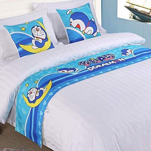JUZSCSYPCQ Corridore Letto Tinta Unita di Alta qualità Doraemon Biancheria da Letto Asciugamano da Letto Hotel Bandiera da Letto Materasso Bandiera da Tavolo Copriletto Federa 45 * 45 Cm * 1 Blu