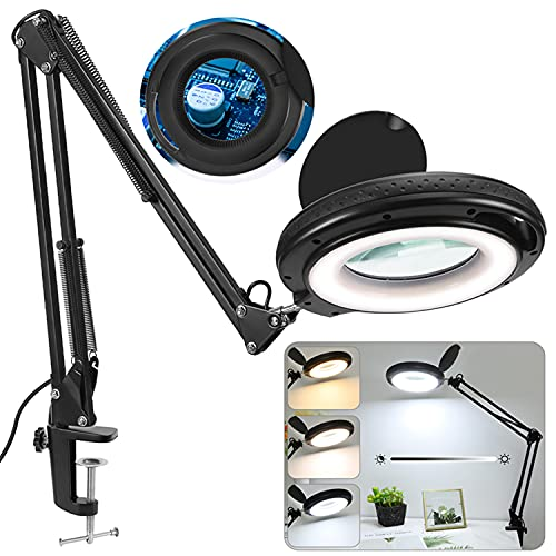 PESIVI Magnifying Glass with Light and Stand, 5X Real Glass Lighted Magnifier, 3 Color Modes 1,500 Lumens Stepless Dimmable, Adjustable Swing Arm LED Magnifying Lamp & Clamp for Crafts Desk Workbench