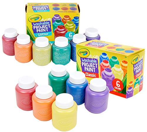 Crayola Washable Kids Paint, 12 Count, Amazon Exclusive, Gift, Assorted and Glitter